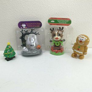 Solar Powered Wind Up Holiday Characters Lot of 4